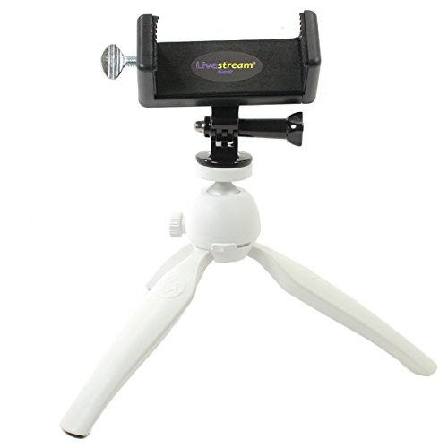 Livestream Gear - Smartphone Tripod Setup for Streaming or Video Recording, Vlogging, to Fit Large (Phablet) Sized Devices like iPhone 7/6 PLUS. Works with Cameras Like GoPro. (Lg. Device White) by Livestream