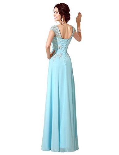 Applikation mit Damen Clearbridal Ballkleider Chiffon Abendkleider Violett CSD181 Abschusskleider Lange cBZORqwA