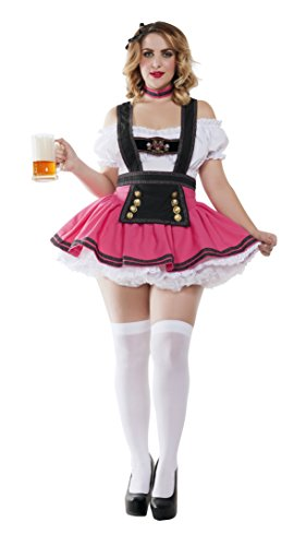 Beer Girl Halloween Costumes (Starline Women's Plus Size Fancy Beer Girl Sexy Costume, Pink/White, 2X)