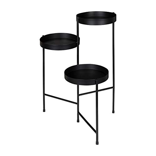 - Simple Interior Indoor Plant Stand - Metal Multi-Tiered Planter - Accent Display Living Room Rack (Black)