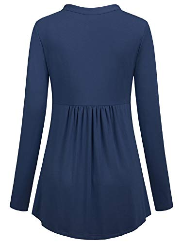 Helloacc Aline Tunic Tops for Women,Long Shirts for Plus Women Fitted Loose Tees Cowl Office Lady Suit V-Neck Ruched Slimming T-Shirt Business Casual Blouses Cutout Latest Fashion Oversized Blue 2X by Helloacc (Image #1)'