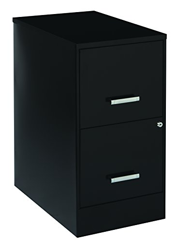 Space Solutions 2-Drawer Metal File Cabinet with Lock and Silver Handles, 22