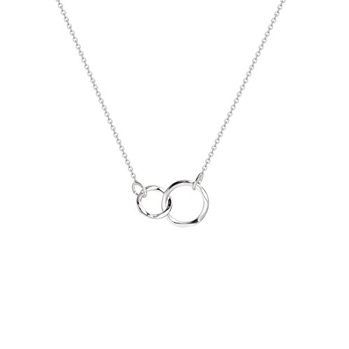 Fettero Silver Sisters Necklace Generation Choker Necklace Dainty Hammered Interlocking Circles (Hammered Circle Link Necklace)