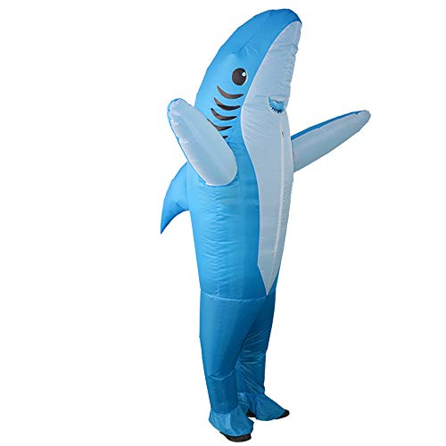 HHARTS Adult Shark Inflatable Costume Funny Animal Blow Up Costume for Fancy Dress Halloween Cosplay Party Christmas (Blue)]()