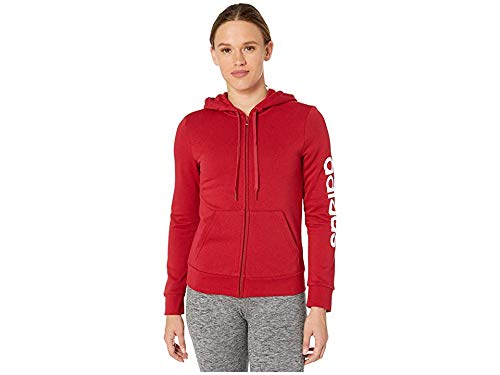 adidas Women's Essentials Linear Full-zip Hoodie Sweatshirt, Active Maroon/White, X-Small by adidas