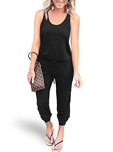 REORIA Women Summer Casual Sleeveless Tank Top Elastic Waist Loose Jumpsuit Rompers with Pockets Black - Drawstring Waist Jumpsuit
