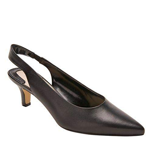 (Ros Hommerson Women's Kaitlin Black Leather Slingback Pump - M - 6)