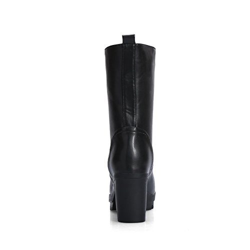 BalaMasa Womens Bandage Wheeled Heel Shoes Thread Imitated Leather Boots Black Kp4PU1