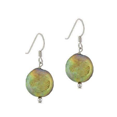 Sterling SilverGenuine de culture d'eau douce-Rond-Vert doré irisé-pièce-Boucles perles d'Oreilles Pendantes Crochet