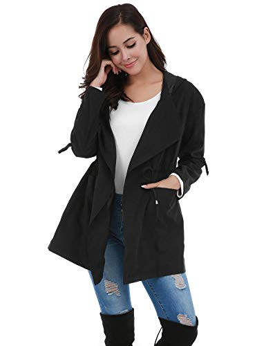FISOUL Women's Lightweight Long Trench Coat Hooded Windbreaker Jacket with Belts Black XXL