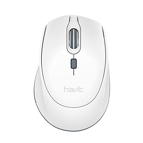 Havit 2.4G Wireless Mouse 2000DPI Optical Mini Portable Mobile with USB Receiver, 3 Adjustable DPI Levels, 4 Buttons for Notebook, PC, Laptop, Computer, MacBook (White)