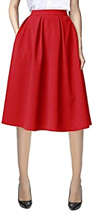 Urban CoCo Women's Flared A line Skirt Pleated Midi Skirt with Poc