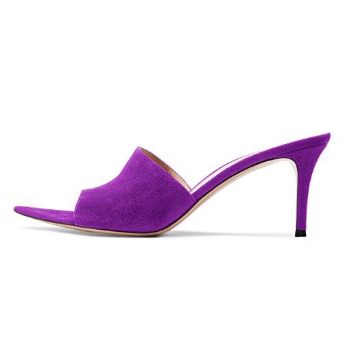 Fsj Sandalo Donna Moda Tacco Medio In Camoscio Slip On Open Toe Muli Scarpe Scivolo Sexy Taglia 4-15 Us Purple-7 Cm