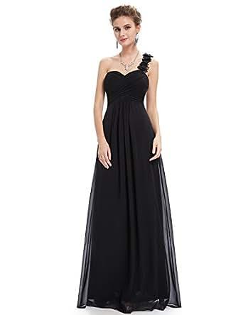 Ever Pretty Womens Flower One Shoulder Long Bridesmaids Dress 4 US Black