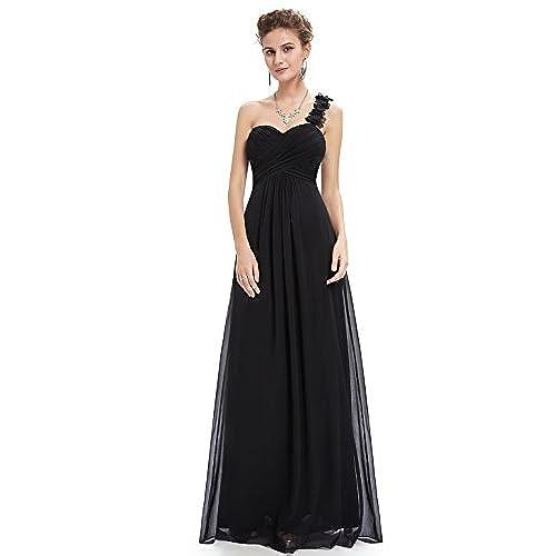 Ever-Pretty Juniors One Shoulder Empire Waist Long Prom Dress 10 US Black