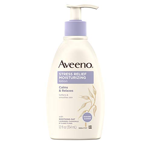 (Aveeno Stress Relief Moisturizing Body Lotion with Lavender, Natural Oatmeal and Chamomile & Ylang-Ylang Essential Oils to Calm & Relax, 12 fl. oz)
