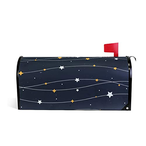 Dark Blue Star Print Mailbox Covers Magnetic Standard Size Mail Boxes Makeover Mail Wraps Cover Letter Post Box