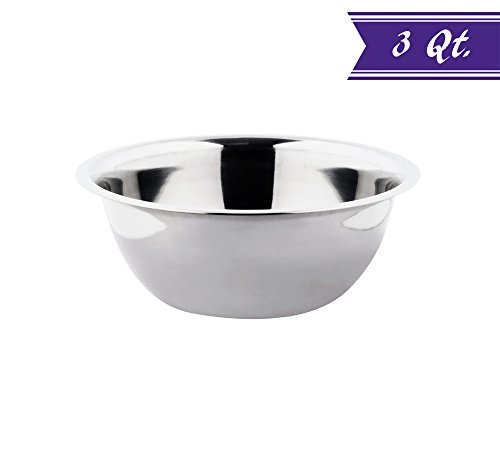 3 Quart Mixing Bowl Stainless Steel, Polished Mirror Finish Nesting Flat Base Bowl, Commercial Mixing Bowls / Prep Bowls by Tezzorio