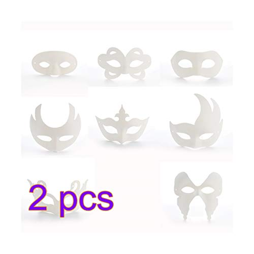 INFILM 16 PCS DIY White Half Face Masks, Costume Mask DIY Cosplay Mask Half Dance Mask, Paper Pulp Blank Hand Painted for Halloween Cosplay Mardi Gras Decoration]()
