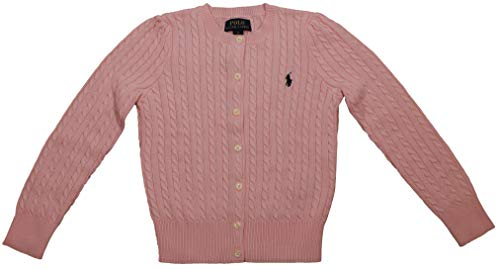 Polo Ralph Lauren Girls Buttoned Down Cable Knit Crew-Neck Sweater (6, Carmel Pink)