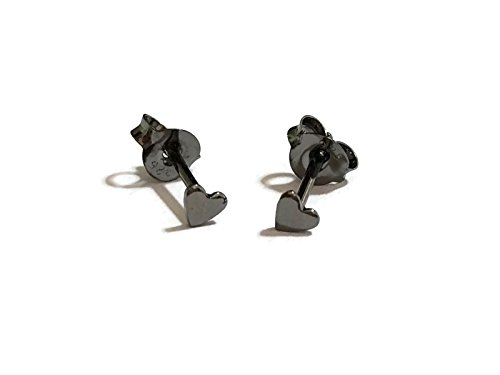 18 gauge (1mm) 925 Sterling Silver Post Earring Stud Cartilage Women Men Teen Girl Minimal Ear Stud Helix Simple Plain Small Heart 3mm (Black Rhodium)