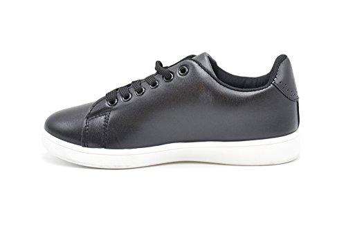 Oh My Shop SHY43 * Baskets Tennis Sneakers Simili Cuir avec Patchs Bouche Abeilles Multicolore et Bout Arrière Perforé (Noir)