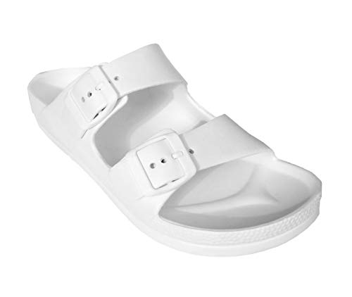 H2K Womens Comfort Slides Adjustable Double Buckle EVA Flat Slide Sandals (White, 7)