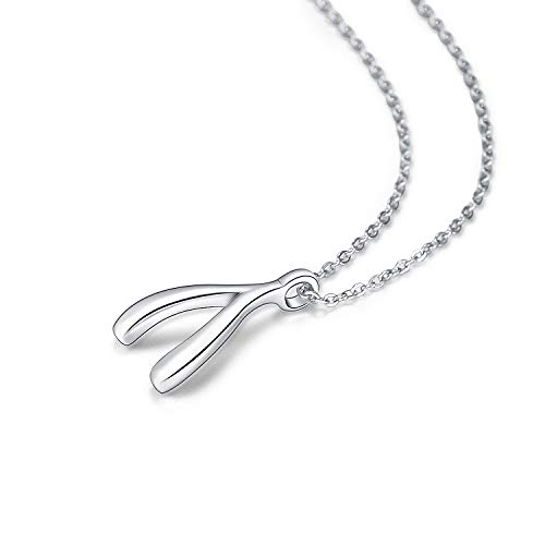 Sterling Silver Wishbone Necklace - VANLAMS Elegant 925 Sterling Silver Double Locking Heart Pendant Necklace for Women (Wishbone)