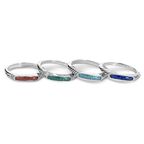 American West Sterling Silver Blue Lapis, Green Malachite, Red Coral, Turquoise Gemstone Chip Inlay Set of 4 Rings Size 6