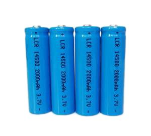 ON THE WAY®4Pcs 14500 2000mAh 3.7V Li-ion Lithium Rechargeable Battery AA Batteries For Led Flashlight Torch(Blue)
