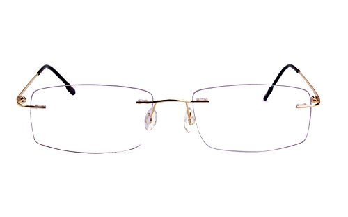 Agstum Titanium Alloy Flexible Rimless Hinged Frame Prescription Eyeglasses Rx (Gold, - Frames Gold Rimless Eyeglass