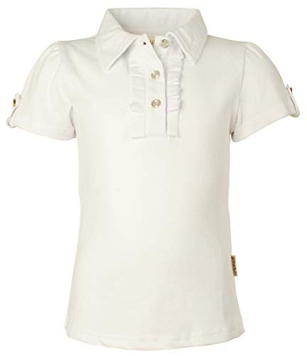 (Ipuang Big Girl Short Sleeve Cotton Ruffle Polo Shirt Top 14 White )