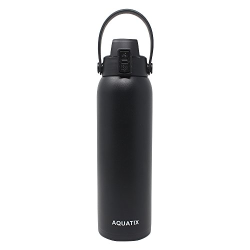 New Aquatix (Black, 32 Ounce) Pure Stainless Steel Double Wall Vacuum Insulated Sports Water Bottle Convenient Flip Top Cap with Removable Strap Handle – Keeps Drinks Cold 24 hr/Hot 6 hr