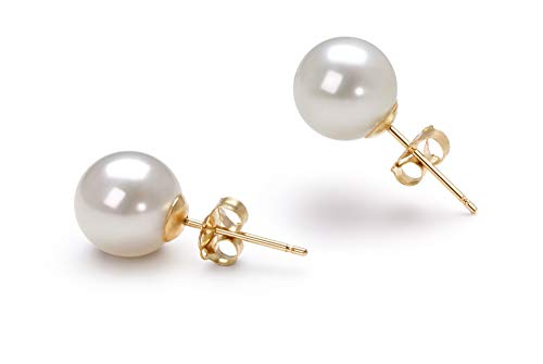6-7mm AAAA Quality Freshwater 14K Yellow Gold Cultured Pearl Earring Pair For Women