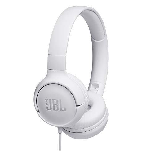 JBL TUNE500 Wired On-Ear Headphones One-Button Remote Mic (White)