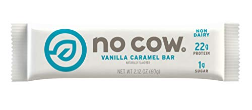 No Cow Protein Bar, Vanilla Caramel, 22g Plant Based Protein, Low Sugar, Dairy Free, Gluten Free, Vegan, High Fiber, Non-GMO, Kosher 12 Count