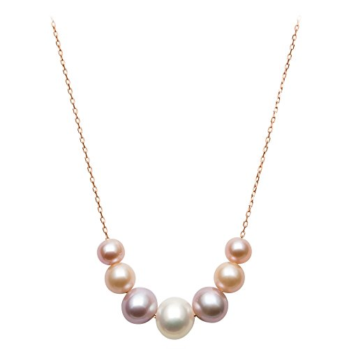 Cultured Pearl Rose Gold Necklace - 14k Rose Gold 6-9.5mm Multi-Colored Pink Cultured Freshwater Pearl Chain Necklace, 18