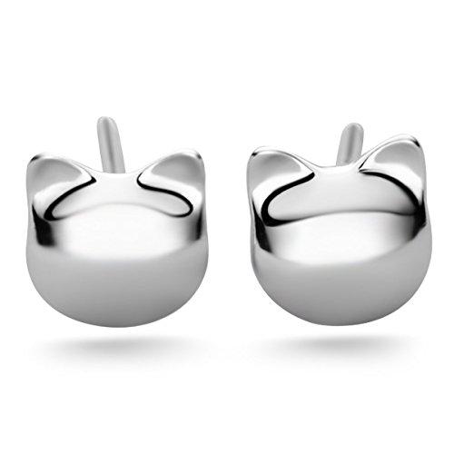 JEWME 925 Sterling Silver Maneki Neko Luck Cat Kitty Women Pierced Earring Eardrop