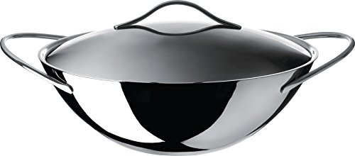 """Alessi""""Domenica"""" Wok in Multiply (Aisi 430, Aluminium) With Lid in 18/10 Stainless Steel, Silver For Sale"""