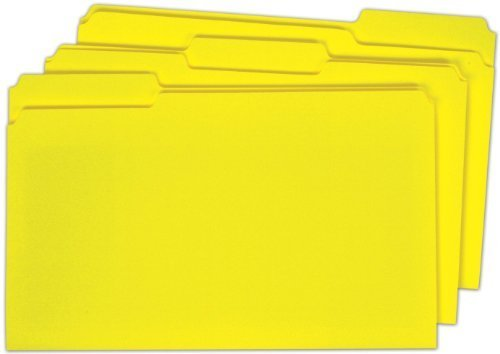 Globe-Weis Colored File Folders, 1/3 Cut, Single-Ply Tab, Legal Size, Yellow, 100-Count (18943GW) by Globe Weis