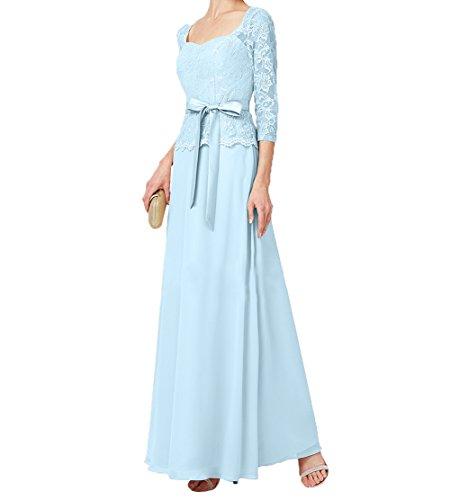 Damen Hell Charmant Promkleider Festlichkleider Brautmutterkleider Etuikleider Blau Spitze Langarm mit Guertel Abendkleider Lang qdPdSC