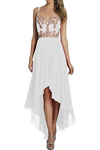 Chiffon Ballkleider Elegant A Weiß Braut Abendkleider Marie Hi Wadenlang Linie Kurz Brautjungfernkleider lo La xRUawv