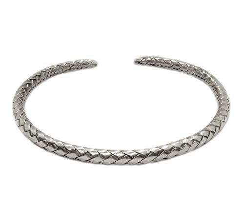 (Braided Sterling Silver Slim Cuff Bracelet, Handmade Boho woven silver for Women or Men Bangle)