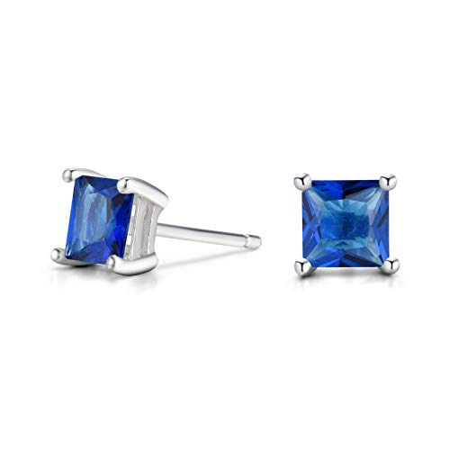Sapphire Square Earring - Women 6MM Sterling Silver Created Blue Sapphire Stud Earrings ... (Square)