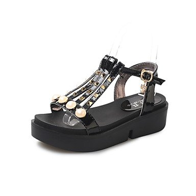 YFF Sandales femmes Printemps Été PU Confort Talon bas décontracté en plein air Rivet Pearl,Black,US7.5 / EU38 / UK5.5 / CN38