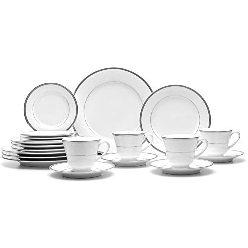 Noritake Regina Platinum 20-Piece Dinnerware Place Setting, Service for 4