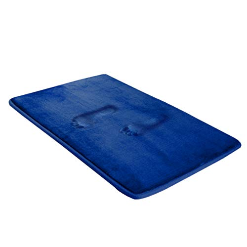 BIGFOOT Memory Foam Bath Mat 30 x 20 for Tub and Shower, Water Absorbent Non-Slip Bathroom Rug with Soft Velvet Top Layer, Thick Cushioning Foam with PVC Dot Bottom Layer Keeps Floors Dry, Navy