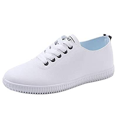 RAZAMAZA Women Casual Sneakers Pumps Lace Up Low Top Trainers Girls Flats Pumps Daily Shoes Black Size 35 Asian
