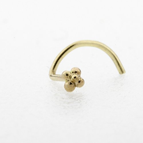Flower Nose Stud, Gold Unique Indian Nose Screw Piercing, Fits Nostril, Tragus, Helix, Cartilage, Rook, 21 Gauge, Handmade Piercing Jewelry