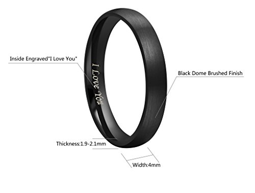 CROWNAL 4mm 6mm 8mm Black Tungsten Couple Wedding Bands Rings Men Women Dome Matte Brushed Finish Engraved I Love You Size 3.5 To 17 (4mm,6.5) by CROWNAL (Image #2)